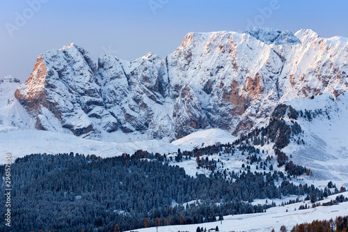 Beautiful Winter at Alpe di Siusi, Seiser Alm - Italy - Holiday background for Christmas. #296157858