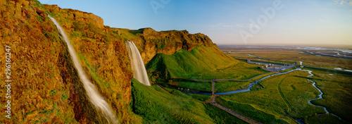 Fototapeta Beautiful Seljalandsfoss waterfall in Iceland during Sunset, Europe obraz