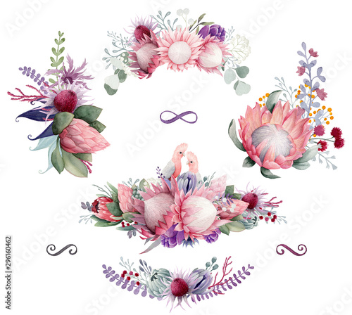 Pink Watercolor Australian Flowers arrangements and love birds Canvas Print