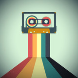 Kasety muzyczne w stylu retro. Ilustracji wektorowych