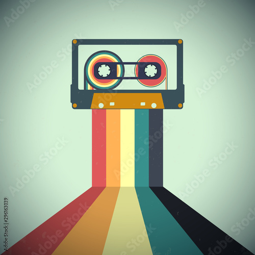 Cassettes music retro style. Vector illustration Wallpaper Mural