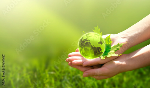 Canvas Prints Akt Earth crystal glass globe ball and maple leaf in human hand on grass background. Saving environment, save clean green planet, ecology concept. Card for World Earth Day.
