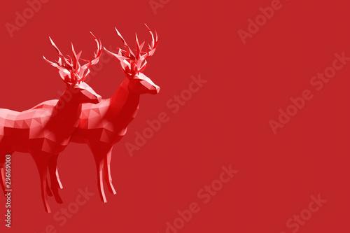 couple of deer male deer christmas motive 3d render