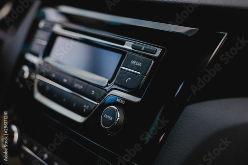 Media button in car audio system. Phone icon in auto. - 296171241
