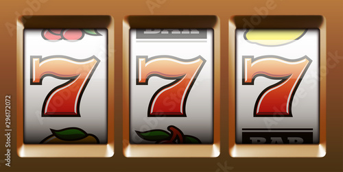 Fotografia Illustration banner of mobile online casino application with 777 big win slot machine