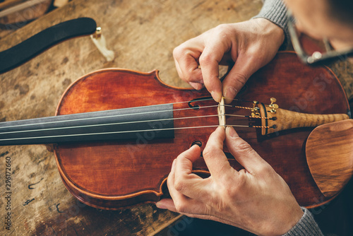 Obraz na plátně Luthier repair violin in his workshop