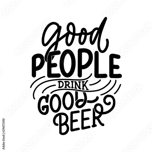Lettering poster with quote about beer in vintage style Wallpaper Mural