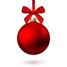 Realistic  Red   Christmas  Ball  With Bow And Ribbon.