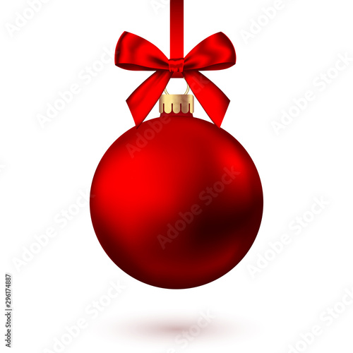 Obraz Realistic  red   Christmas  ball  with bow and ribbon. - fototapety do salonu