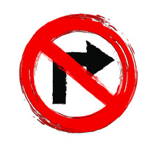 No Turn Right Sign