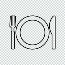 Line Knife Plate Fork Icon Sym...