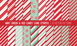Super Pack of Red, Mint Green and White Candy Cane Stripes and Peppermints Seamless Vector Patterns. Christmas Background. Variable Thickness Diagonal Lines. Repeating Pattern Tile Swatches Included.