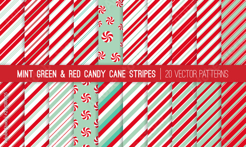 fototapeta na szkło Super Pack of Red, Mint Green and White Candy Cane Stripes and Peppermints Seamless Vector Patterns. Christmas Background. Variable Thickness Diagonal Lines. Repeating Pattern Tile Swatches Included.