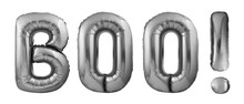 Halloween Concept. Word Boo Made Of Inflatable Balloons Isolated On White Background. Black Helium Balloons Forming Boo Word