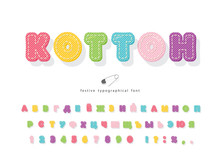 Cartoon Cyrillic Colorful Font For Kids. Cotton Texture Alphabet. Cute Decorative 3d ABC Letters And Numbers. Vector