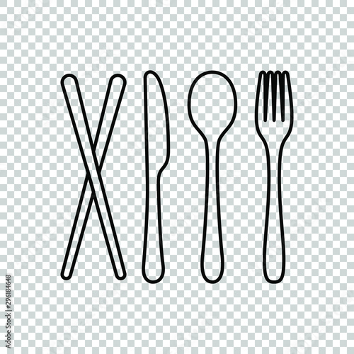line knife spoon fork chopstick icon symbol design restaurant Canvas-taulu