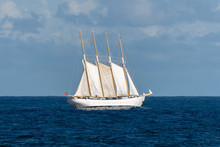 Sailing Ship With Four White Sails