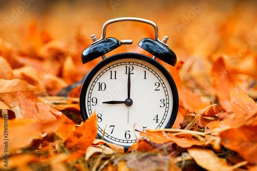 Foto auf Gartenposter Rotglühen Autumn concept. Alarm clock black on a background of yellow fallen foliage. Fall season