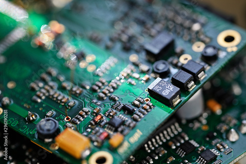 Electronic components on printed circuit board. Wallpaper Mural
