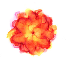Autumn Flower. Bright Hand Drawn Watercolor Blossom In Red And Orange Tones. Alcohol Ink Art. Raster Illustration.