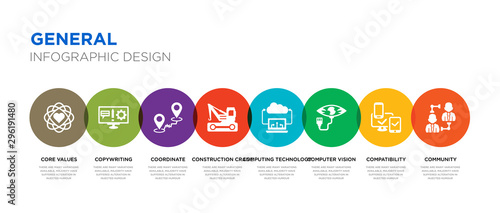 Obraz 8 colorful general vector icons set such as community, compatibility, computer vision, computing technology, construction crane, coordinate, copywriting, core values - fototapety do salonu