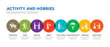 8 Colorful Activity And Hobbies Vector Icons Set Such As Game Playing, Gardening, Gliding Parachutist, Golf Playing, Greedy, Greeting, Hiking, Horse Riding