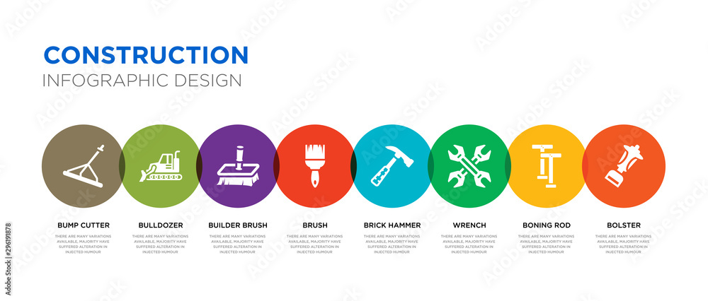 Fototapety, obrazy: 8 colorful construction vector icons set such as bolster, boning rod, wrench, brick hammer, brush, builder brush, bulldozer, bump cutter