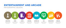 8 Colorful Entertainment And Arcade Vector Icons Set Such As Bowling, Bowling Pins, Zoo, Bumper Car, Carousel, Casino, Chess, Chess Piece