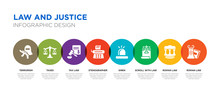 8 Colorful Law And Justice Vector Icons Set Such As Roman Law, Roman Law, Scroll With Siren, Stenographer, Tax Taxes, Terrorism