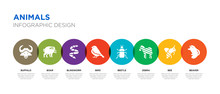 8 Colorful Animals Vector Icons Set Such As Beaver, Bee, Zebra, Beetle, Bird, Blindworm, Boar, Buffalo