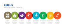 8 Colorful Circus Vector Icons Set Such As Trapeze, Trapeze Artist, Two Headed Man, Balloon Dog, Cards, Circus, Circus Tent, Clown