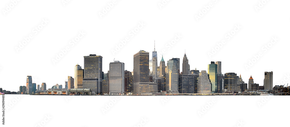 Fototapeta Manhattan skyline isolated on white.