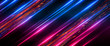 canvas print picture - Dark abstract futuristic background. Neon lines, glow. Neon lines, shapes. Pink and blue glow.