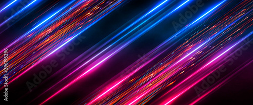 Fototapeta Dark abstract futuristic background. Neon lines, glow. Neon lines, shapes. Pink and blue glow.  obraz
