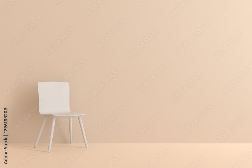 Fototapety, obrazy: white chair in living room for interior or graphic backgrounds. Minimal style concept. pastel color style.