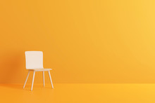 Modern Chair In Yellow Living Room. Minimal Style Concept. Pastel Color Style. 3D Render.
