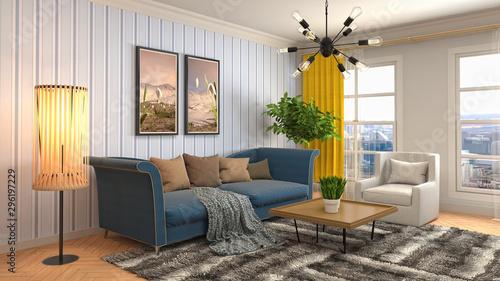 Carta da parati  Interior of the living room. 3D illustration