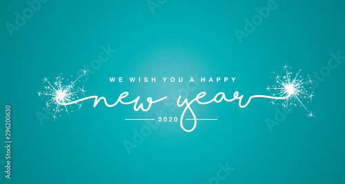 Cuadros en Lienzo We wish you a Happy New Year 2020 with trendy sea green color greeting card back
