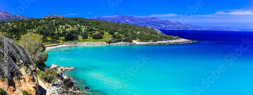 Most beautiful beaches of Crete island -Istron bay near Agios Nikolaos, Greece
