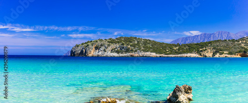 Beautiful nature and turquoise beaches of Crete island, Istron bay. Greece