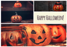 Halloween Collage With Funny Pumpkins. Greeting Card, Party Flyer Design
