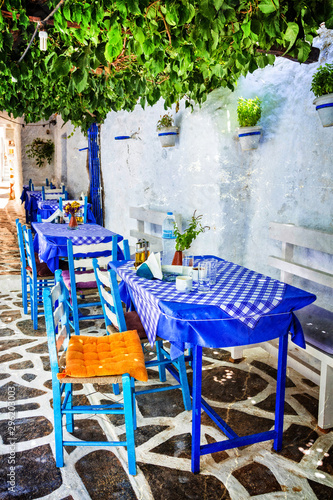 Traditional Greece - small tavernas in Cyclades. Naxos island. retros tyled picture
