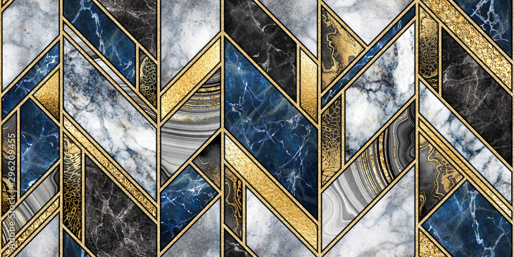 seamless abstract background, modern marble mosaic, art deco wallpaper, artificial stone texture, blue gold marbled tile, geometrical fashion marbling illustration