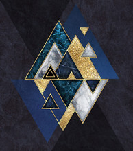 Abstract Geometric Background, Triangular Shapes. Modern Marble Mosaic Inlay, Art Deco Wallpaper. Fashion Illustration. Blue Black Triangles With Artificial Stone Texture And Gold Foil.