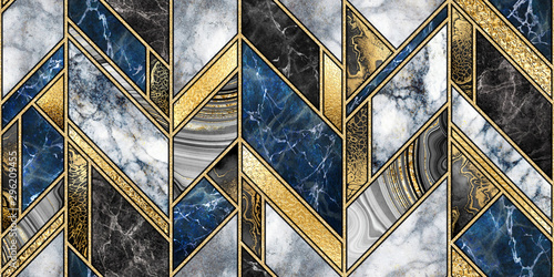 Canvas Prints Geometric seamless abstract background, modern marble mosaic, art deco wallpaper, artificial stone texture, blue gold marbled tile, geometrical fashion marbling illustration