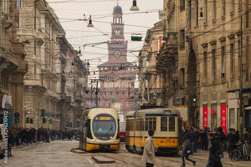 old tram in milan