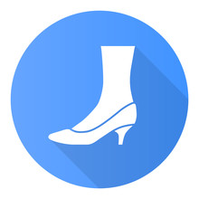 Kitten Heel Shoes Blue Flat Design Long Shadow Glyph Icon. Woman Stylish Formal Footwear. Female Casual And Formal Retro Pumps. Fashionable Ladies Clothing Accessory. Vector Silhouette Illustration