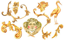 Watercolor Golden Baroque Floral Curl, Rococo Ornament Element. Hand Drawn Gold Scroll, Leaves, Crane, Angel
