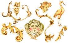 Watercolor Golden Baroque Flor...