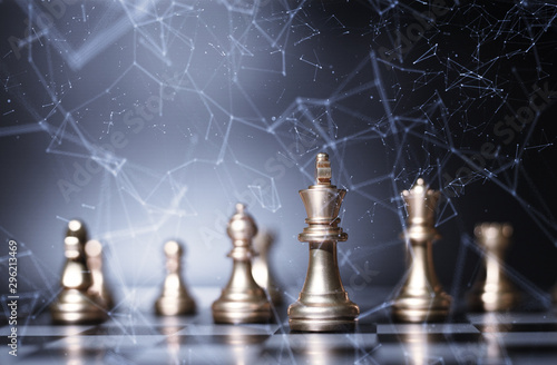 Fotomural Chess board game concept of business ideas and competition and strategy plan suc